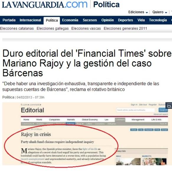 Finantial Times corrupción en España