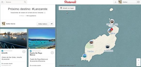 añadir lugar en tablero de viajes Pinterest esthergarsan