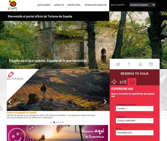 Portal spain.info experiencias turísticas