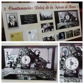 Reloj mecánico de la Iglesia de Haría. Panel e imágenes elaboradas por Alberto Perdomo Reyes